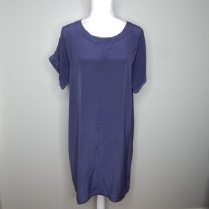 everlane women silk dress blue sz L